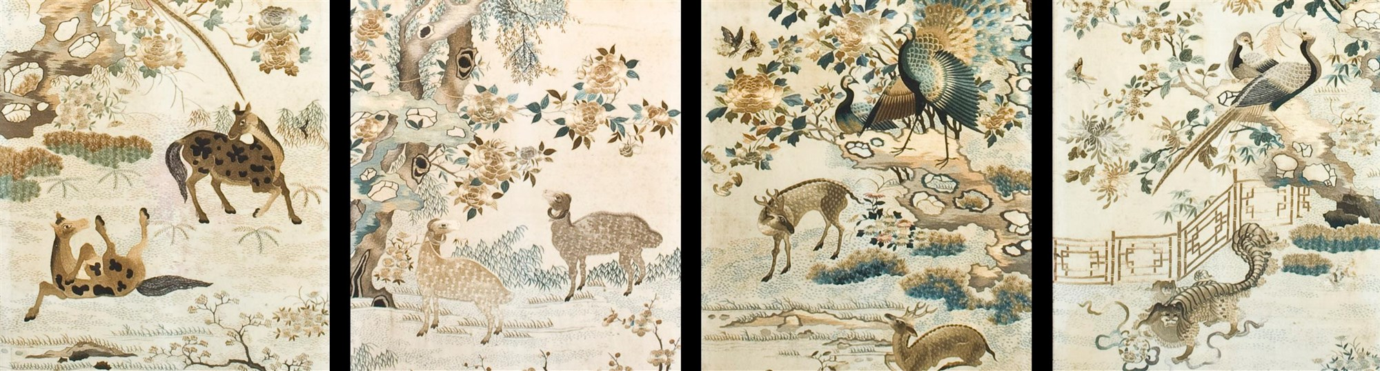 Detail of four Chinese silk screens