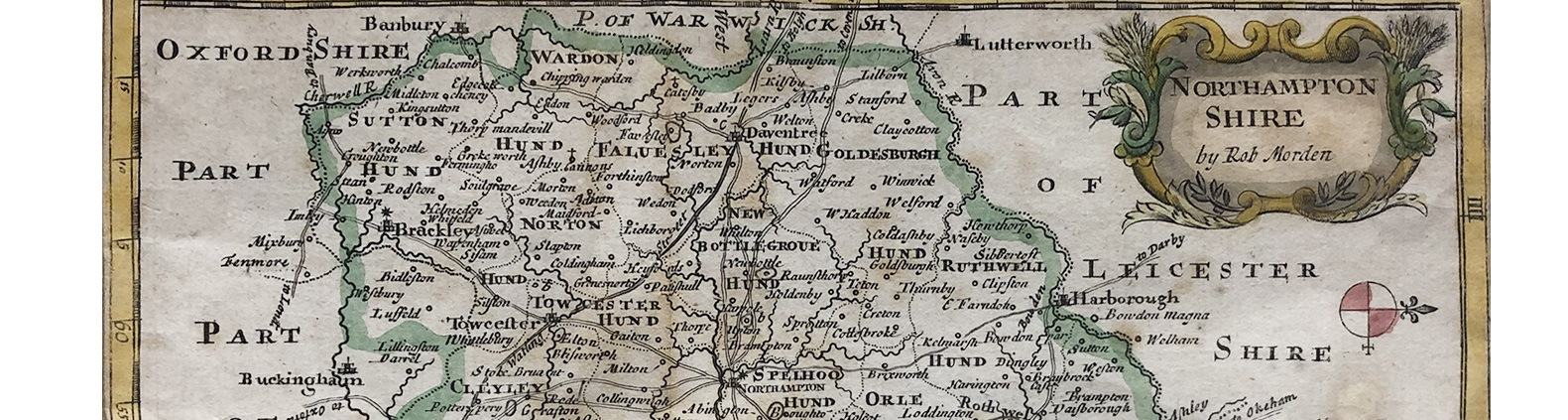 Northamptonshire map by Robert Morden