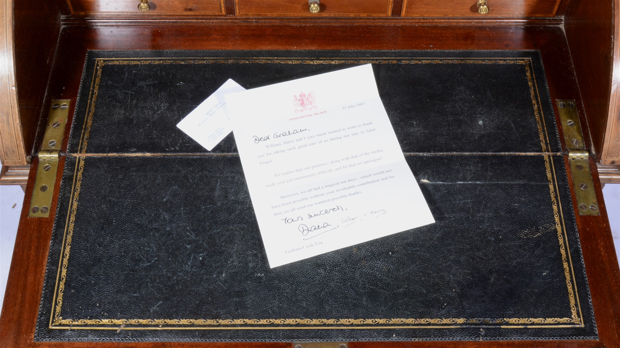 Princes Diana's letter to bodyguard