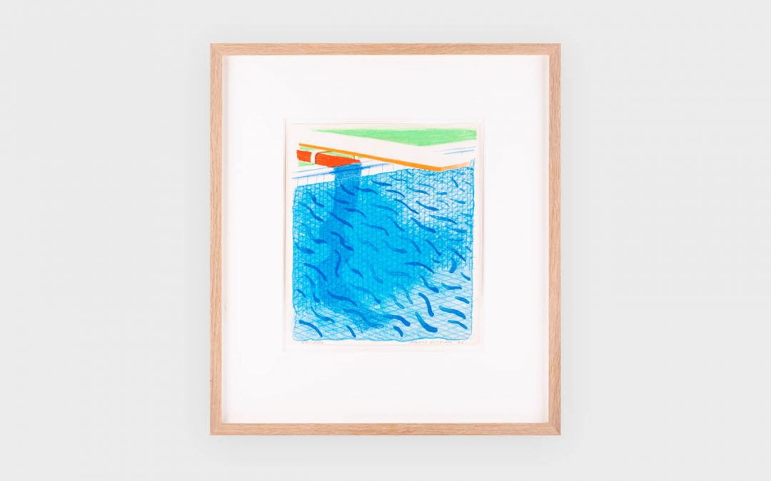 David Hockney Pool made with paper and blue ink for Paper Pool