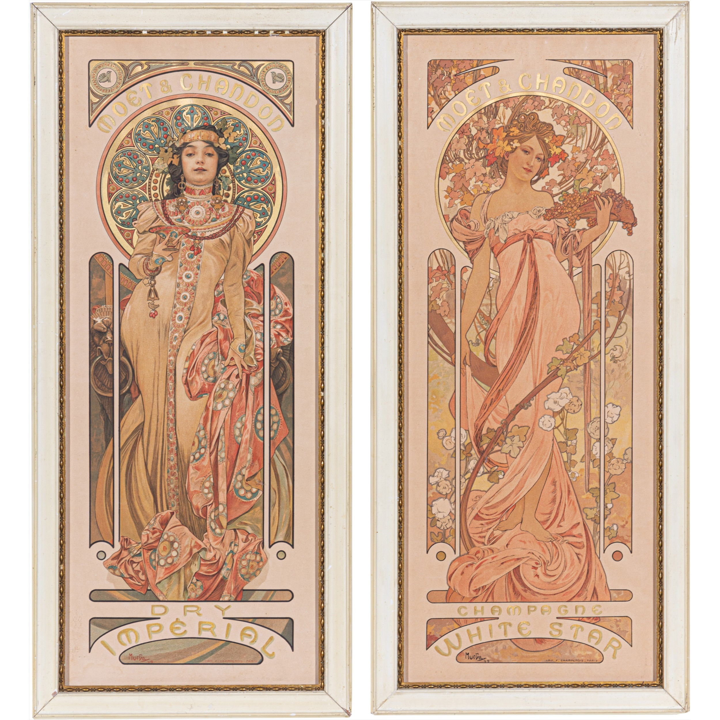 Alphonse Mucha for Moët & Chandon - White Star, and Dry Impérial lithographic posters