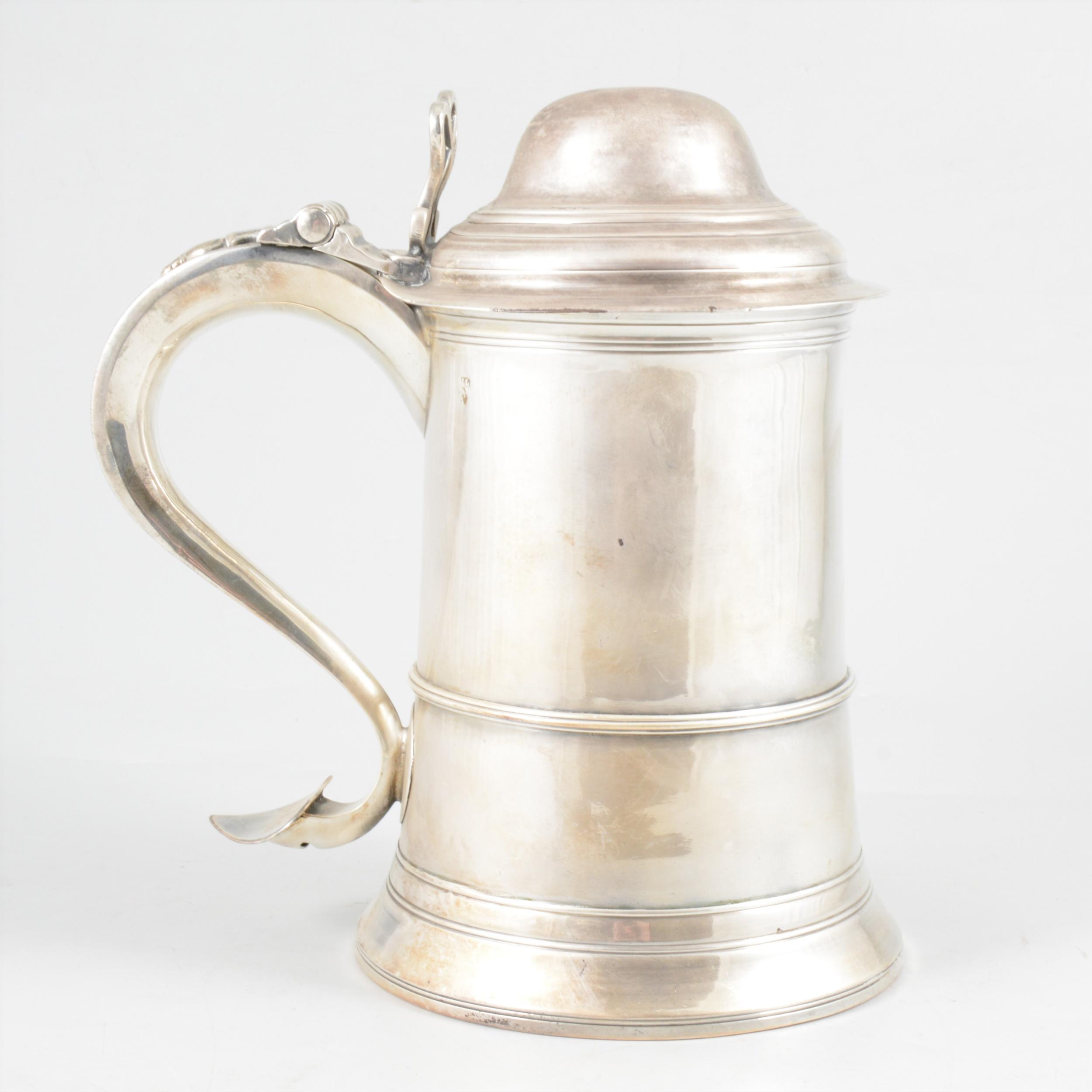 George III silver tankard, John Langlands, Newcastle, 1794