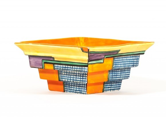 Clarice Cliff, a 'Football' pattern stepped bowl