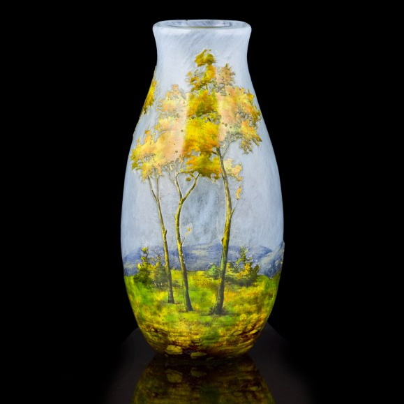 Daum acid-etched and enamelled cameo glass landscape vase