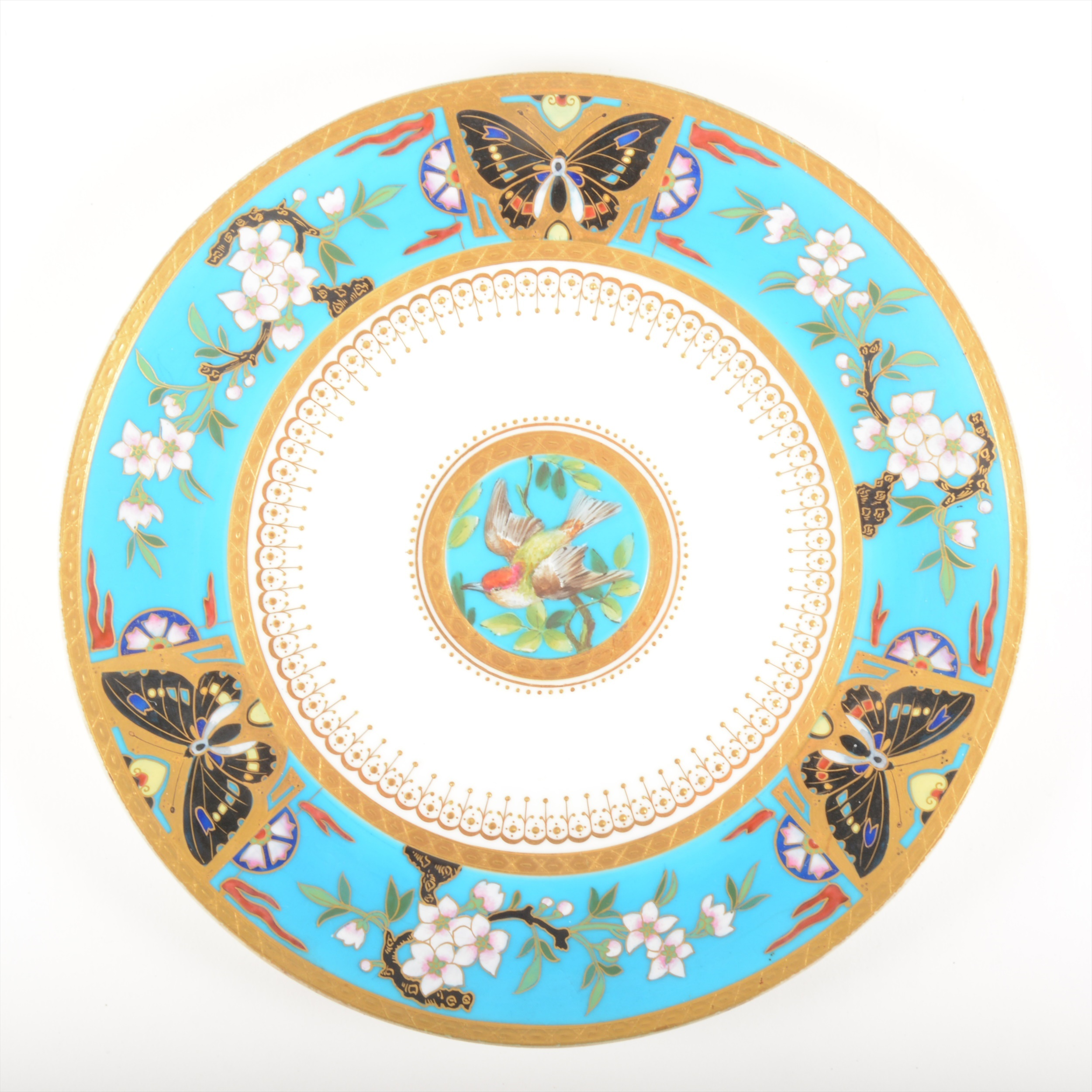 A Minton cabinet plate, attributed to Dr Christopher Dresser
