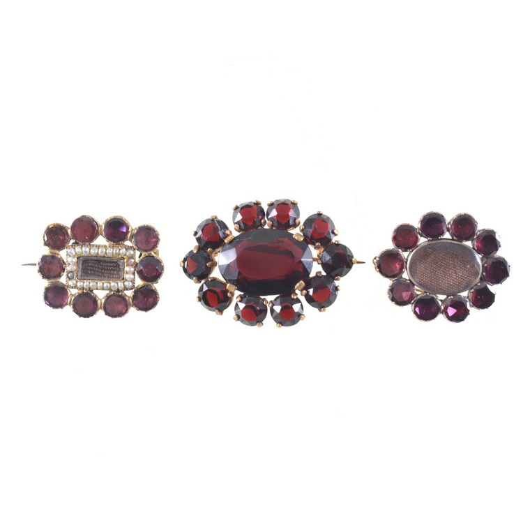Georgian closed back set garnet brooches