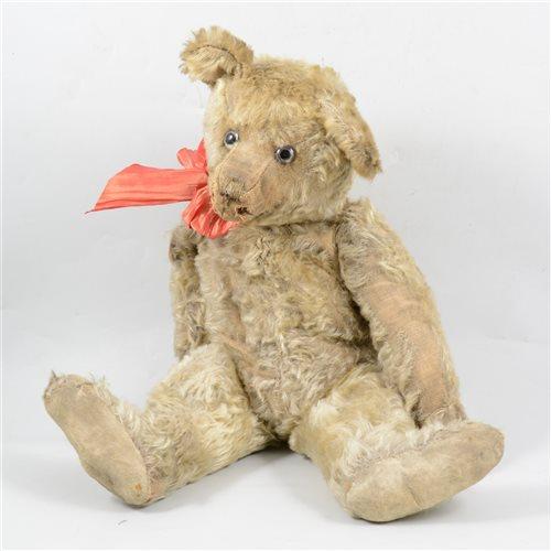 A blonde plush teddy bear circa 1912
