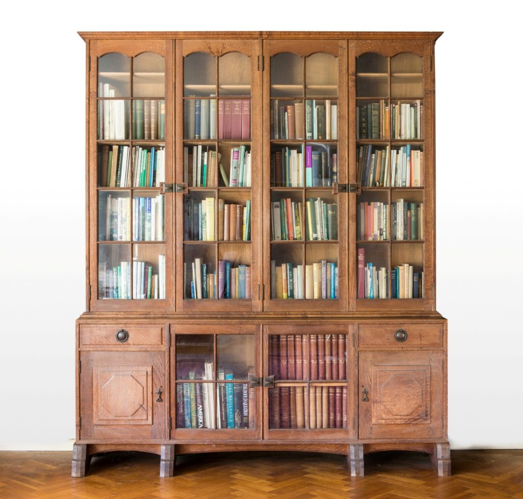 Peter Waals, an oak bookcase commissioned by the Cadbury Family