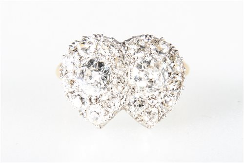 Lot 166-A diamond heart design cluster ring, the two...