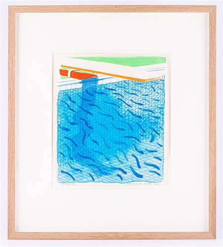 Lot 285-David Hockney, Pool Made with Paper and Blue Ink...
