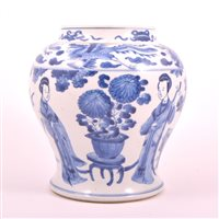 Lot 14 - Chinese blue and white jar of baluster shape,...