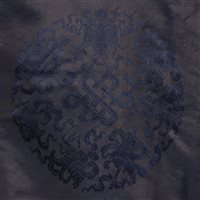 Lot 17-Chinese dark blue damask long robe, embroidered...