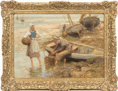 Lot 199-Robert McGregor, 'Preparing Sardines', signed...