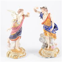 Lot 50-Derby style figure, Mercury, scrolled base,...