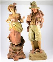 Lot 116-Large Viennese composition figure, Augustin, Ernst Wahliss Turn, ...