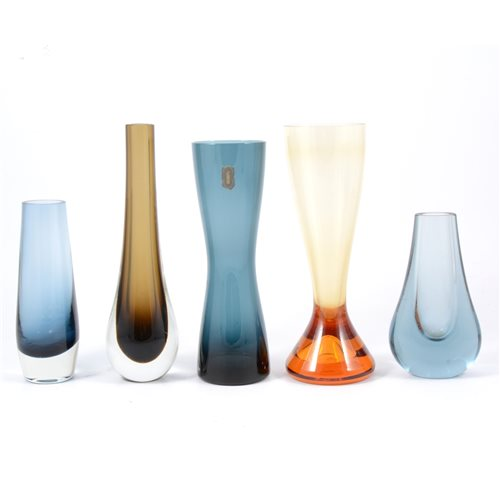 Lot 11-Whitefriars, eight assorted glass vases,...
