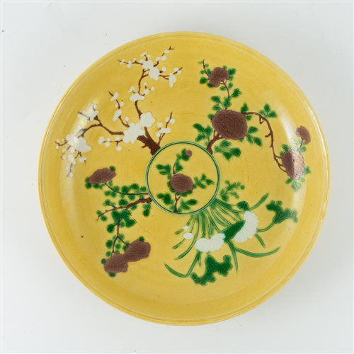 Lot 25-Chinese yellow ground circular dish, bearing...