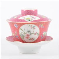 Lot 9-Chinese famille rose covered bowl on stand,...