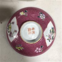 Lot 9 - Chinese famille rose covered bowl on stand,...