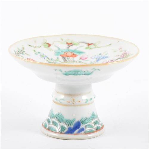 Lot 29-Chinese polychrome stem dish, shallow flared...