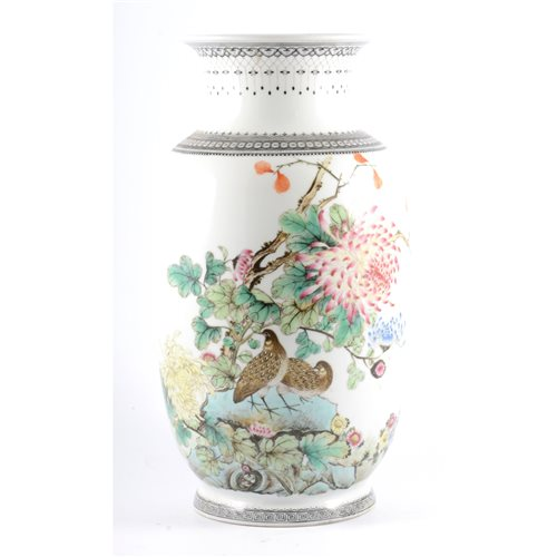 Lot 6-Chinese famille rose shouldered vase, bearing...
