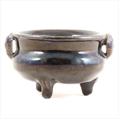 Lot 52-Chinese grey stoneware black glazed tripod...