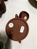 Lot 9-Chinese Red stoneware teapot, Yixing, moulded...