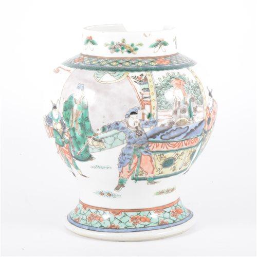Lot 57-Chinese famille verte baluster shaped jar,...