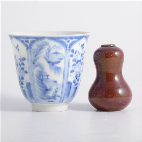 Lot 20-Chinese blue and white beaker, panelled...
