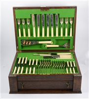 Lot 146-Canteen of silver plated cutlery, six place settings