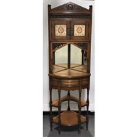 Lot 503-An Indian hardwood and tiled corner cabinet in...