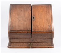 Lot 88-Victorian oak slope front correspondence box,...