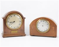 Lot 111-Edwardian small inlaid dome topped mantel clock,...