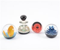Lot 66-Milifiori glass paperweight inkwell, 10cm;...