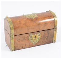 Lot 103-Victorian walnut scent bottle casket, domed...