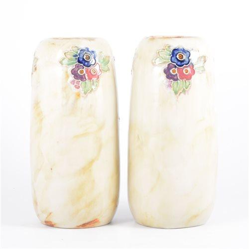 Lot 53-Doulton Lambeth, a pair of stoneware vases,...