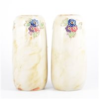 Lot 53-Doulton Lambeth, a pair of stoneware vases,...