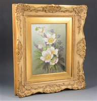 Lot 82-Continental porcelain plaque, hand-painted, with spring flowers.