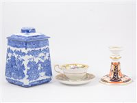 Lot 74-Staffordshire transferware sauce tureen Willow pattern, and other decorative china and miscellany,.