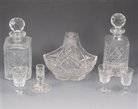 Lot 15-Assorted glassware including decanters, table glass, etc.
