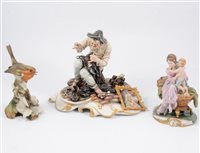 Lot 39-A quantity of Capodimonte figures and ornaments