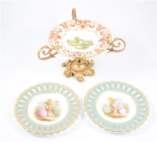 Lot 1-Pair of Copeland cabinet plates, and another on gilt metal stand