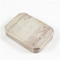 Lot 56-Continental white metal snuff box, maker's mark only Unicorn over EH, 18th century.