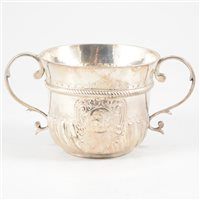 Lot 94-Queen Anne Britannia Standard two handle porringer, unclear marks, London, probably 1706.