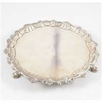 Lot 68-George II Irish silver salver, John Gumley, Dublin, circa 1730.