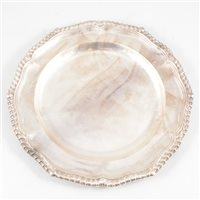 Lot 71-George III silver dinner plate, John Parker & Edward Wakelin, London, 1774.