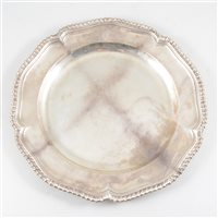 Lot 70-George III Irish silver dinner plate, John Culderwood, Dublin, circa 1760.