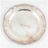 Lot 69-George III Irish silver dinner plate, John Culderwood, Dublin, circa 1760.