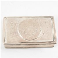 Lot 30-French white metal oblong box, set with Louis XV 12 Sols coin.