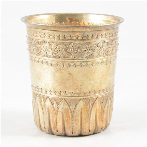 Lot 25-French silver gilt beaker, maker's mark only Philippe Borthier of Paris, 1840's.